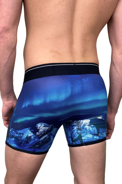 Dirt Squirrel Arctic Northern Lights Boxer Brief 0258  - Mens Boxer Briefs - Rear View - Topdrawers Underwear for Men