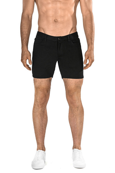 ST33LE Stretch Knit Jeans Shorts | Black 1932-BLK - Mens Shorts - Front View - Topdrawers Clothing for Men
