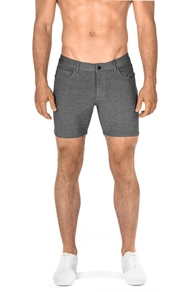 ST33LE Stretch Knit Jeans Shorts | Grey 1932-GRY - Mens Shorts - Front View - Topdrawers Clothing for Men