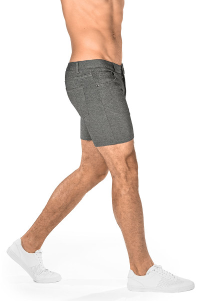 ST33LE Stretch Knit Jeans Shorts | Grey 1932-GRY - Mens Shorts - Rear View - Topdrawers Clothing for Men