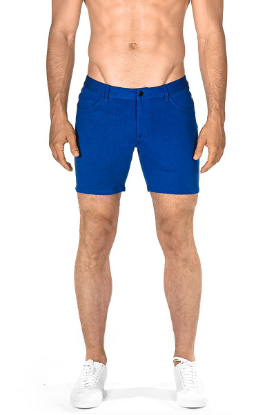 ST33LE Stretch Knit Jeans Shorts | Azure 1932-AZUR - Mens Shorts - Front View - Topdrawers Clothing for Men