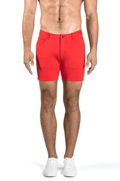 ST33LE Stretch Knit Jeans Shorts | Watermelon 1932-WTR - Mens Shorts - Front View - Topdrawers Clothing for Men