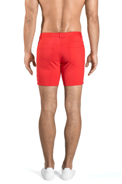 ST33LE Stretch Knit Jeans Shorts | Watermelon 1932-WTR - Mens Shorts - Rear View - Topdrawers Clothing for Men