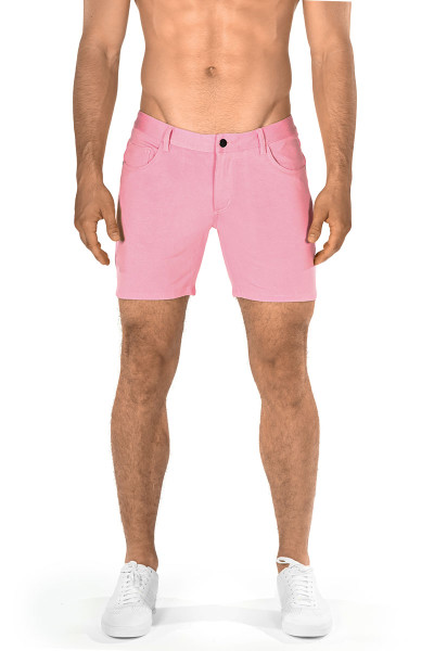 ST33LE Stretch Knit Jeans Shorts | Pink 1932-PK - Mens Shorts - Front View - Topdrawers Clothing for Men