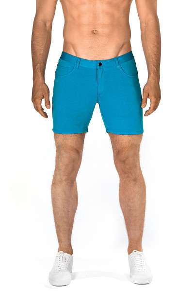 ST33LE Stretch Knit Jeans Shorts | Cyan 1932-CY - Mens Shorts - Front View - Topdrawers Clothing for Men