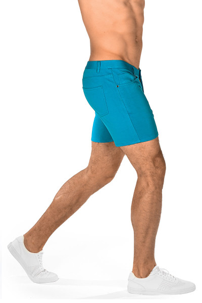 ST33LE Stretch Knit Jeans Shorts | Cyan 1932-CY - Mens Shorts - Rear View - Topdrawers Clothing for Men