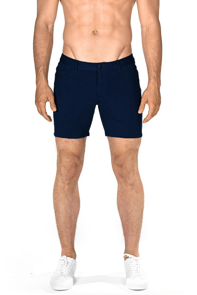 ST33LE Stretch Knit Jeans Shorts | Navy 1932-NV - Mens Shorts - Front View - Topdrawers Clothing for Men