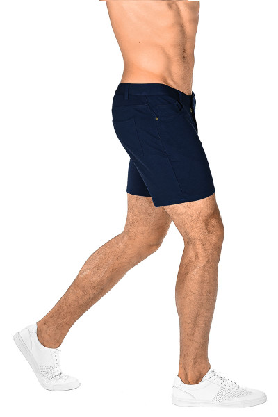 ST33LE Stretch Knit Jeans Shorts | Navy 1932-NV - Mens Shorts - Rear View - Topdrawers Clothing for Men
