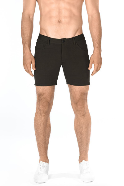 ST33LE Stretch Knit Jeans Shorts | Olive 1932-OLV - Mens Shorts - Front View - Topdrawers Clothing for Men