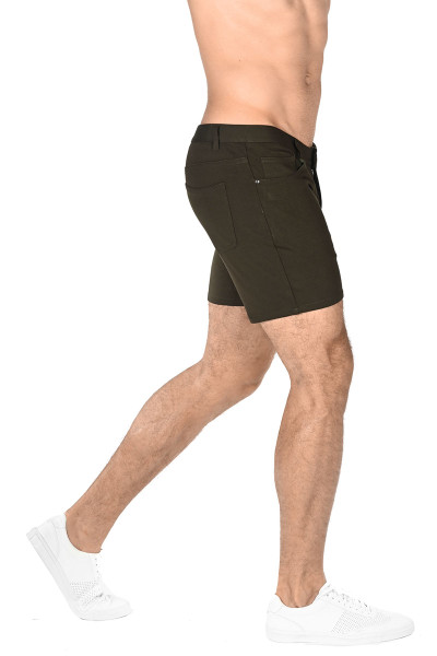 ST33LE Stretch Knit Jeans Shorts | Olive 1932-OLV - Mens Shorts - Rear View - Topdrawers Clothing for Men