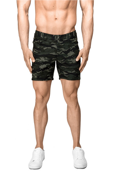 ST33LE Stretch Knit Jeans Shorts | Green Camo 1932-CAMO - Mens Shorts - Front View - Topdrawers Clothing for Men