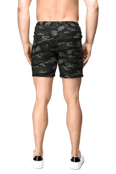 ST33LE Stretch Knit Jeans Shorts | Green Camo 1932-CAMO - Mens Shorts - Rear View - Topdrawers Clothing for Men
