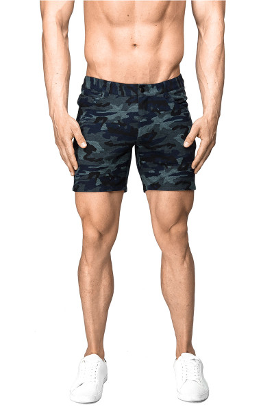 ST33LE Stretch Knit Jeans Shorts | Blue Camo 1932-BUC - Mens Shorts - Front View - Topdrawers Clothing for Men