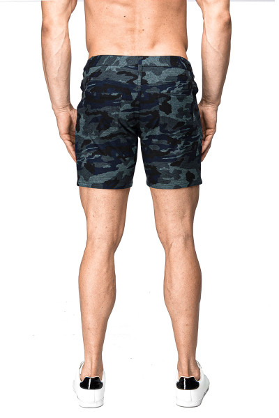 ST33LE Stretch Knit Jeans Shorts | Blue Camo 1932-BUC - Mens Shorts - Rear View - Topdrawers Clothing for Men