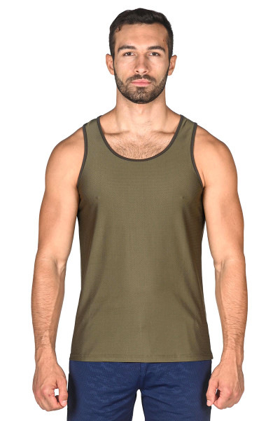 ST33LE Honeycomb Air Mesh Performance Tank Top | Olive 229-OLV - Mens Athletic Tank Tops - Front View - Topdrawers Clothing for Men