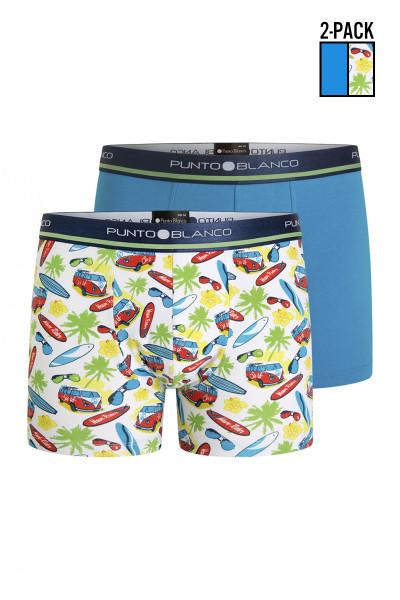 Punto Blanco 2-Pack Comic Elastic Cotton Boxer 3358740-576 - Mens Multipack Boxer Briefs - Garment View - Topdrawers Underwear for Men