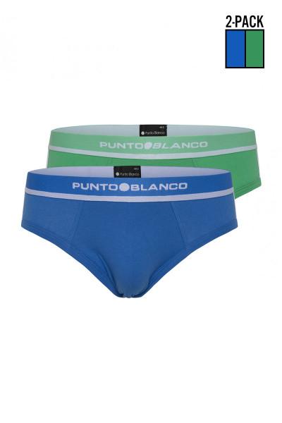 Punto Blanco 2-Pack Sparkling Organic Cotton Brief 3356110-577 - Mens Multipack Briefs - Garment View - Topdrawers Underwear for Men
