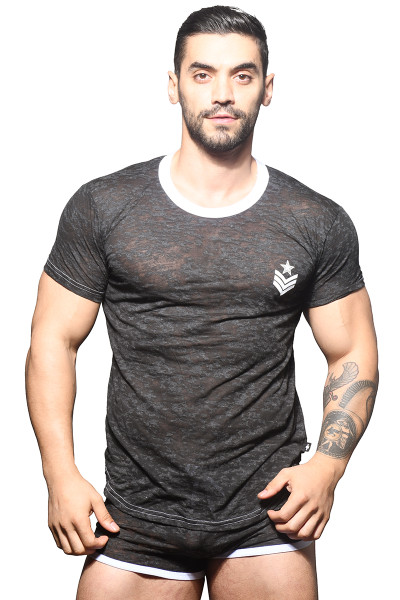 Andrew Christian Burnout Sergeant Tee 10318 - Mens T-Shirts - Front View - Topdrawers Clothing for Men