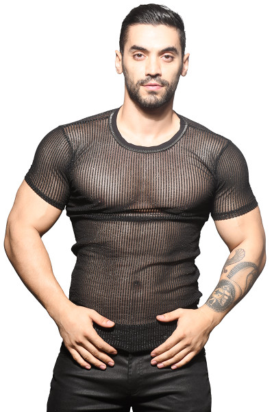 Andrew Christian Sheer Sparkle Stripe Crew Neck Tee 10317 - Mens T-Shirts - Front View - Topdrawers Clothing for Men