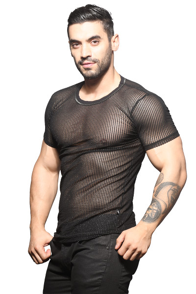 Andrew Christian Sheer Sparkle Stripe Crew Neck Tee 10317 - Mens T-Shirts - Side View - Topdrawers Clothing for Men