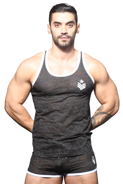 Andrew Christian Burnout Sergeant Tank 2820 - Mens Tank Tops - Front View - Topdrawers Clothing for Men