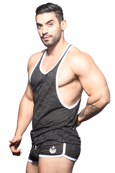 Andrew Christian Vibe Burnout Sports & Gym Tank 2821 - Mens Tank Tops - Side View - Topdrawers Clothing for Men