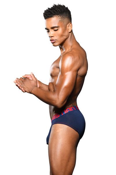 Andrew Christian Almost Naked Bamboo Brief 92021-NV Navy Blue - Mens Briefs - Side View - Topdrawers Underwear for Men