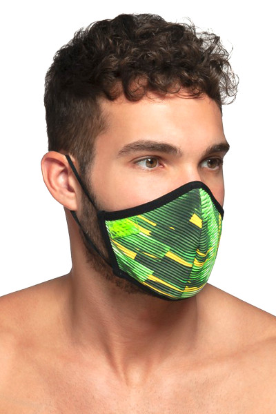 ES Collection Palms Face Mask AC096-10 Black - Mens Reusable Face Masks - Side View - Topdrawers Protective Gear for Men