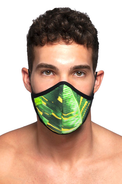 ES Collection Palms Face Mask AC096-10 Black - Mens Reusable Face Masks - Front View - Topdrawers Protective Gear for Men