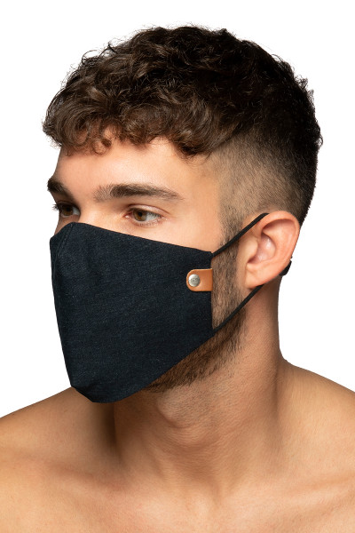 ES Collection Jeans Face Mask AC123-500 Blue Jeans - Mens Reusable Face Masks - Side View - Topdrawers Protective Gear for Men