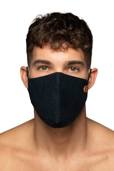 ES Collection Jeans Face Mask AC123-500 Blue Jeans - Mens Reusable Face Masks - Front View - Topdrawers Protective Gear for Men