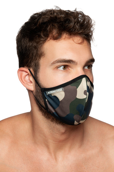 Addicted Camo Mask AC087-17 Camouflage - Mens Reusable Face Masks - Side View - Topdrawers Protective Gear for Men