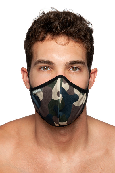 Addicted Camo Mask AC087-17 Camouflage - Mens Reusable Face Masks - Front View - Topdrawers Protective Gear for Men