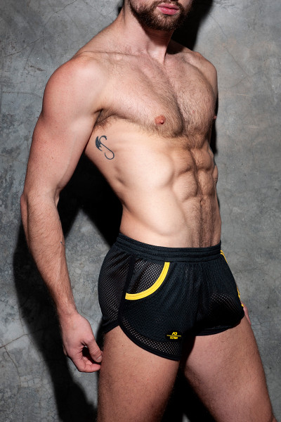 Addicted Fetish Pocket Rocky Shorts ADF125-03 Yellow - Mens Fetish Shorts - Side View - Topdrawers Clothing for Men