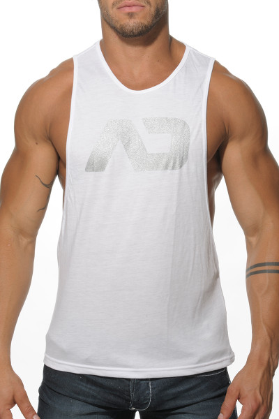 Addicted AD Low Rider Tank Top AD043-01 White - Mens Athletic Tank Tops - Front View - Topdrawers Clothing for Men