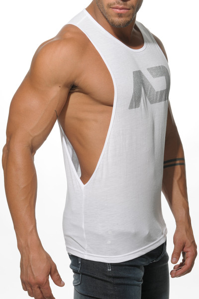 Addicted AD Low Rider Tank Top AD043-01 White - Mens Athletic Tank Tops - Side View - Topdrawers Clothing for Men