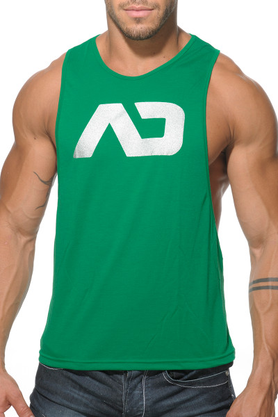 Addicted AD Low Rider Tank Top AD043-18 Green - Mens Athletic Tank Tops - Front View - Topdrawers Clothing for Men