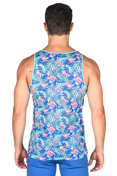 ST33LE Flamingo Stretch Mesh Tank Top ST-163-AZPK - Mens Tank Tops - Front View - Topdrawers Clothing for Men