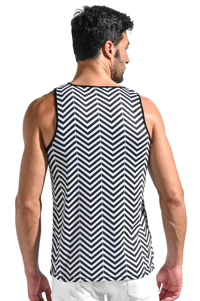 ST33LE Jersey Stretch Tank Top | Black/White Floral Chevron ST-427-BWFL - Mens Tank Tops - Rear View - Topdrawers Clothing for Men
