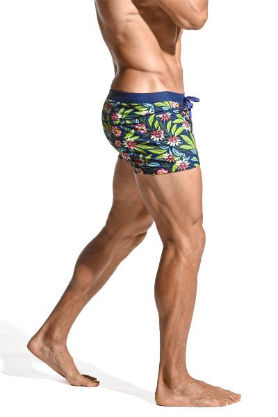 ST33LE Coast Swim Shorts | Navy/Multi Tropic ST-8007-87 - Mens Swim Shorts - Side View - Topdrawers Swimwear for Men