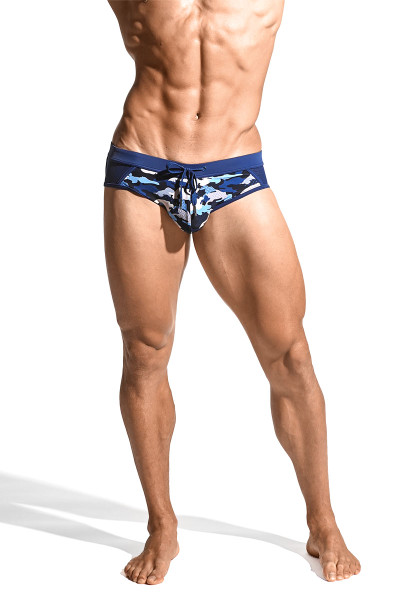 ST33LE Relay Side Mesh Swim Brief | Navy/Blue Camo ST-8003-64 - Mens Swim Bikinis - Front View - Topdrawers Swimwear for Men