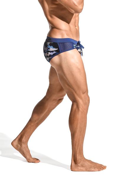 ST33LE Relay Side Mesh Swim Brief | Navy/Blue Camo ST-8003-64 - Mens Swim Bikinis - Side View - Topdrawers Swimwear for Men