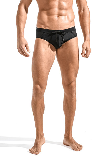 ST33LE Relay Side Mesh Swim Brief | Black ST-8003-BLK - Mens Swim Bikinis - Front View - Topdrawers Swimwear for Men