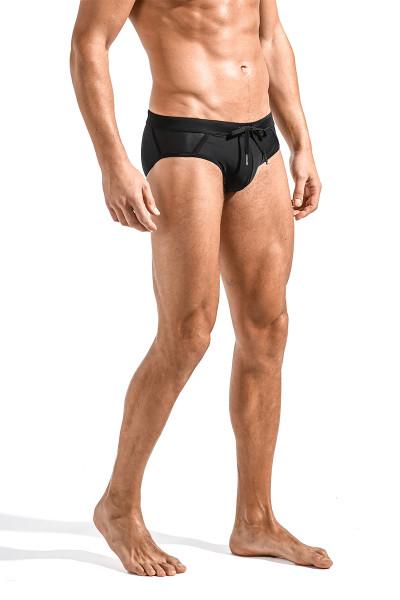 ST33LE Relay Side Mesh Swim Brief | Black ST-8003-BLK - Mens Swim Bikinis - Side View - Topdrawers Swimwear for Men