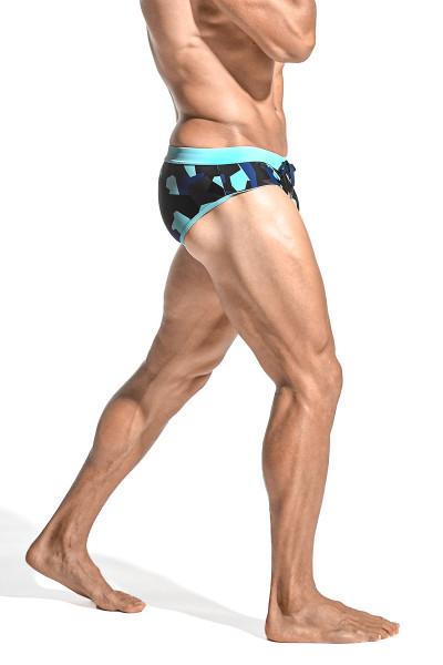 ST33LE Freestyle Swim Brief | Petrol/Blue Puzzle ST-8000-62 - Mens Swim Bikinis - Side View - Topdrawers Swimwear for Men