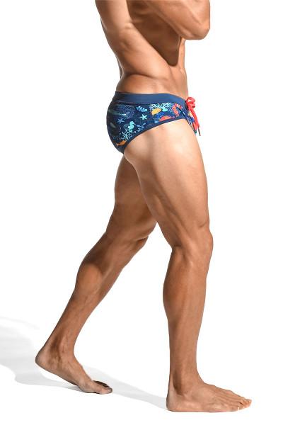 ST33LE Freestyle Swim Brief | Turquoise/Royal Fishys ST-8000-60 - Mens Swim Bikinis - Side View - Topdrawers Swimwear for Men