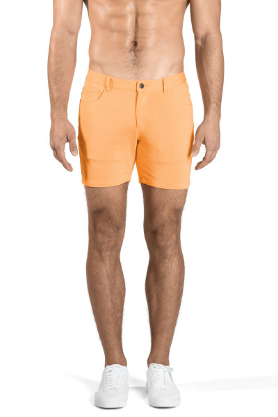 ST33LE Stretch Knit Jeans Shorts | Melon ST-1932-MEL - Mens Shorts - Front View - Topdrawers Clothing for Men