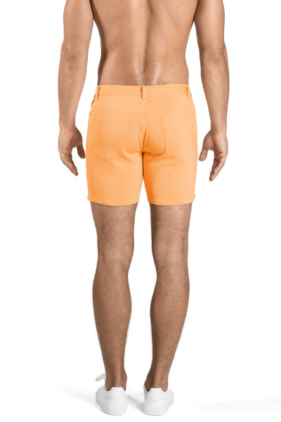 ST33LE Stretch Knit Jeans Shorts | Melon ST-1932-MEL - Mens Shorts - Rear View - Topdrawers Clothing for Men