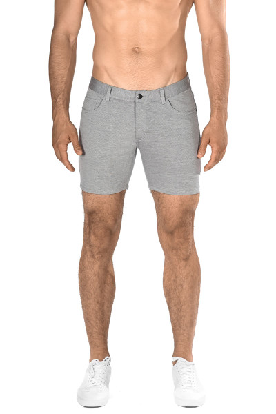 ST33LE Stretch Knit Jeans Shorts | Dove Grey ST-1932-DOVE - Mens Shorts - Front View - Topdrawers Clothing for Men