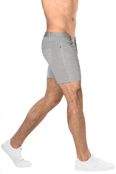 ST33LE Stretch Knit Jeans Shorts | Dove Grey ST-1932-DOVE - Mens Shorts - Side View - Topdrawers Clothing for Men